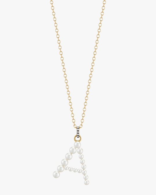 Jemma Wynne Pearl & Diamond Initial Pendant Necklace 0