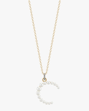 Jemma Wynne Pearl and Diamond Initial Pendant Necklace 2