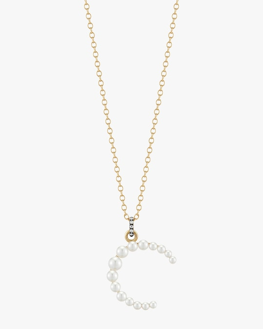 Jemma Wynne Pearl & Diamond Initial Pendant Necklace 1