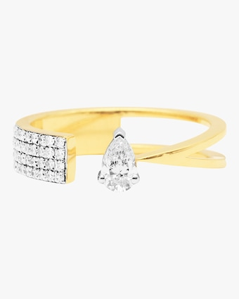 Swati Dhanak Floating Pear Open Ring 1