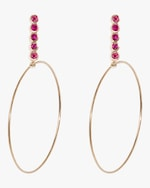 Sophie Ratner Large Five Ruby Drop Hoop Earrings 0