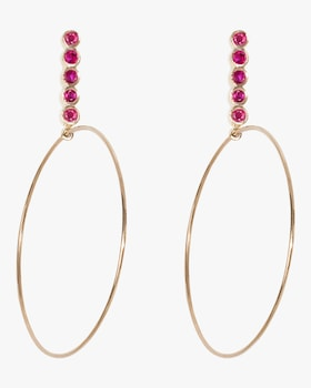 Large Five Ruby Drop Hoop Earrings