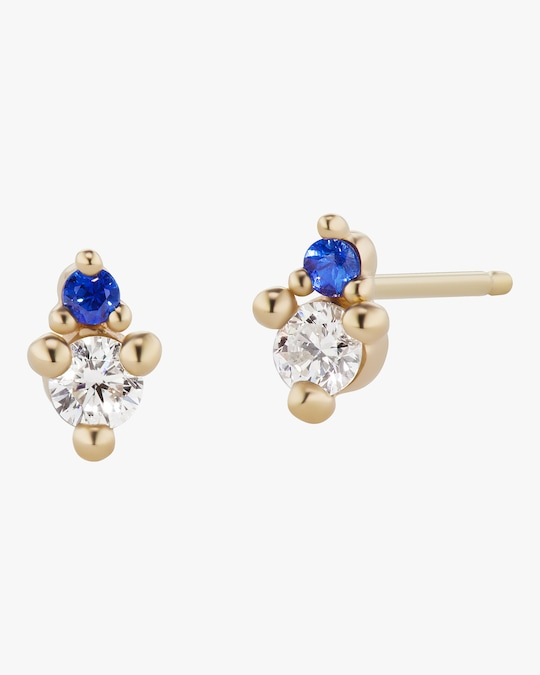 Sophie Ratner Diamond and Sapphire Duo Stud Earrings 0