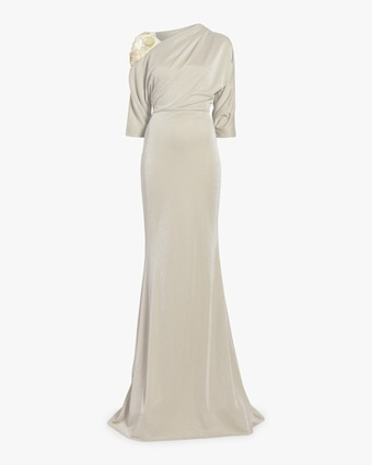 Asymmetrical Embroidered Drape Gown