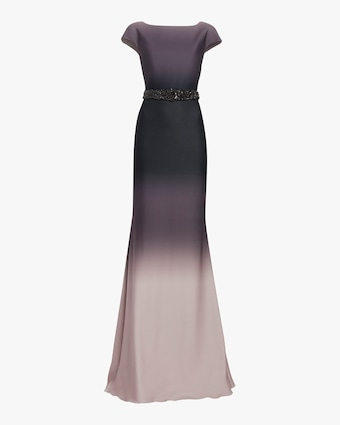 Ombré Embroidered-Waist Gown