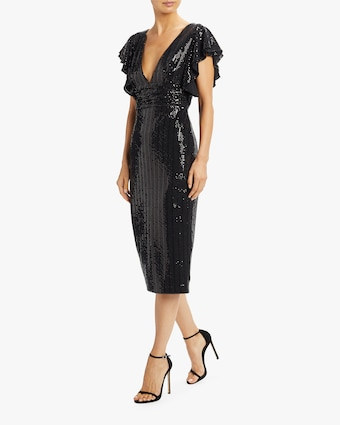 Badgley Mischka Sequin Flutter-Sleeve Cocktail Dress 2