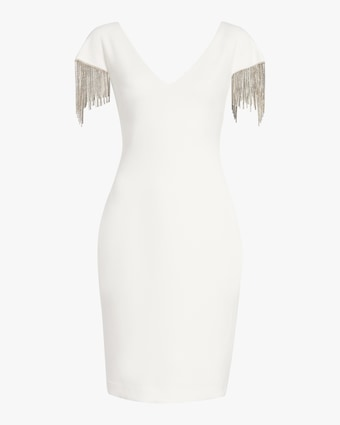 Badgley Mischka Beaded-Sleeve V Neck Dress 1