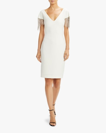 Badgley Mischka Beaded-Sleeve V Neck Dress 2