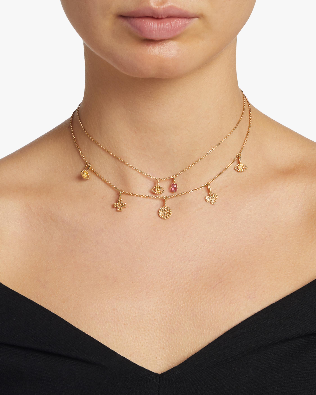 Eye Mini Charm & Pink Tourmaline Necklace