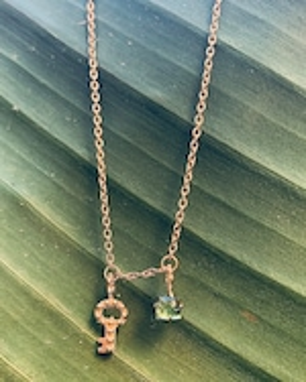 Gaya Key Mini Charm & Green Tourmaline Necklace 2
