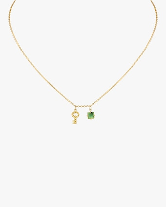 Gaya Key Mini Charm & Green Tourmaline Necklace 1