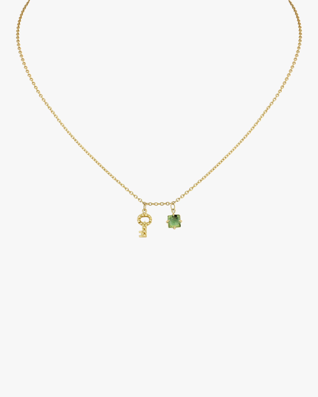 Gaya Key Mini Charm & Green Tourmaline Necklace 1