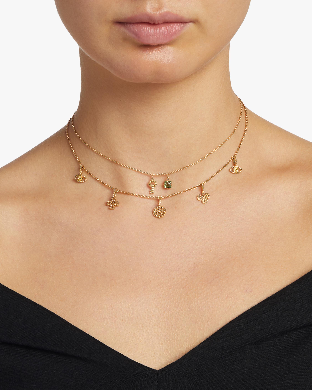 Key Mini Charm & Green Tourmaline Necklace