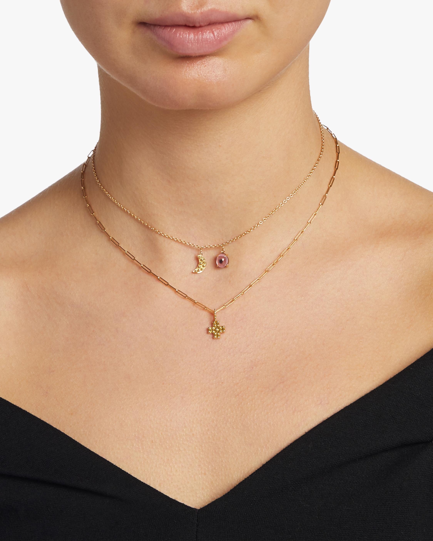 Moon Mini Charm & Tourmaline Pink Eye Necklace