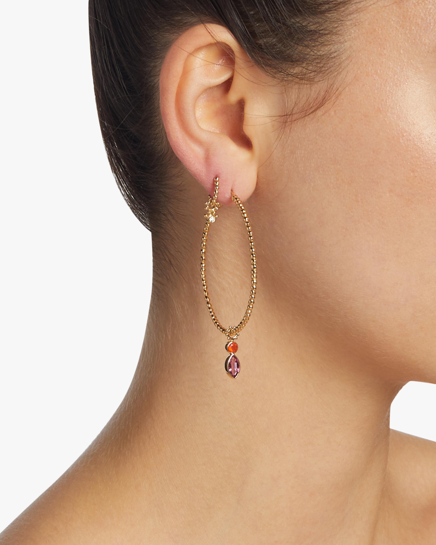 Pink Tourmaline & Fire Opal Hoop Charm