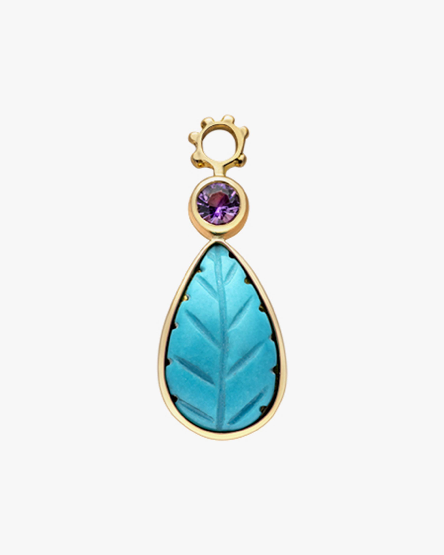 Gaya Turquoise Leaf & Garnet Hoop Charm 1