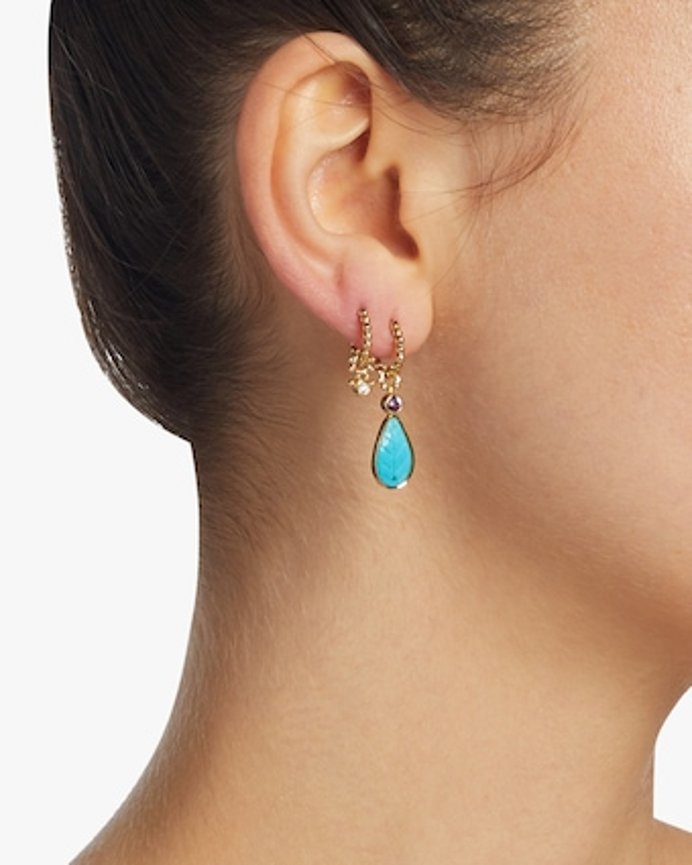 Turquoise Leaf & Garnet Hoop Charm