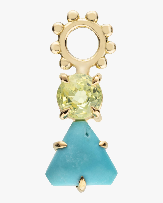 Turquoise Triangle & Chrysocola Hoop Charm