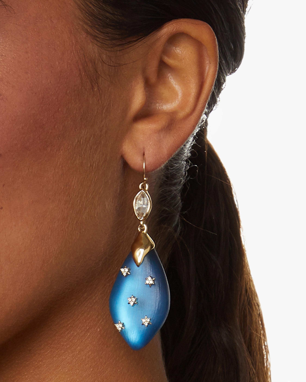 Spike Studded Navette Wire Drop Earrings