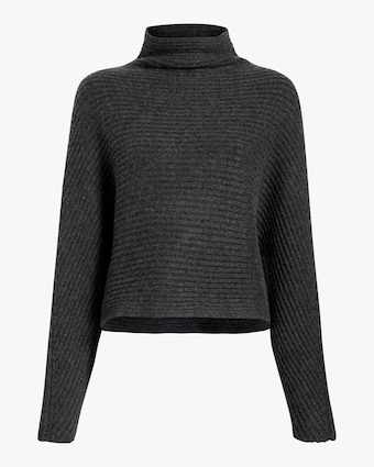 Open-Back Funnel Neck Sweater