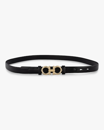 Gancini Leather Skinny Belt