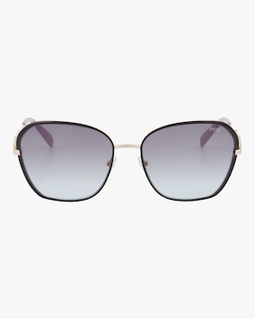 Goldtone & Smoke Geometric Embellished Sunglasses