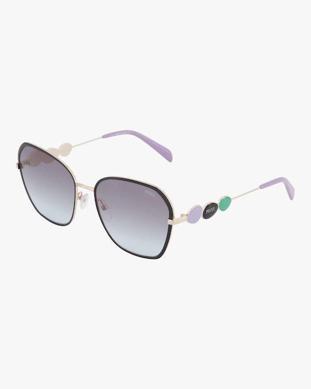 Emilio Pucci Goldtone & Smoke Geometric Embellished Sunglasses 1