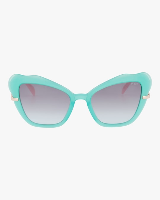 Emilio Pucci Turquoise & Smoke Organic Cat-Eye Sunglasses 0