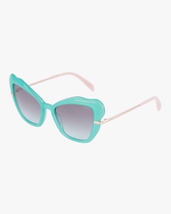 Emilio Pucci Turquoise & Smoke Organic Cat-Eye Sunglasses 2