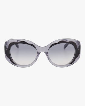 Black & Smoke Scalloped Oversized Sunglasses