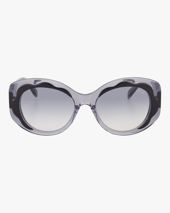 Emilio Pucci Black & Smoke Scalloped Oversized Sunglasses 1