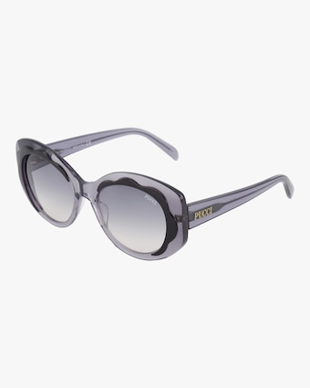 Emilio Pucci Black & Smoke Scalloped Oversized Sunglasses 2
