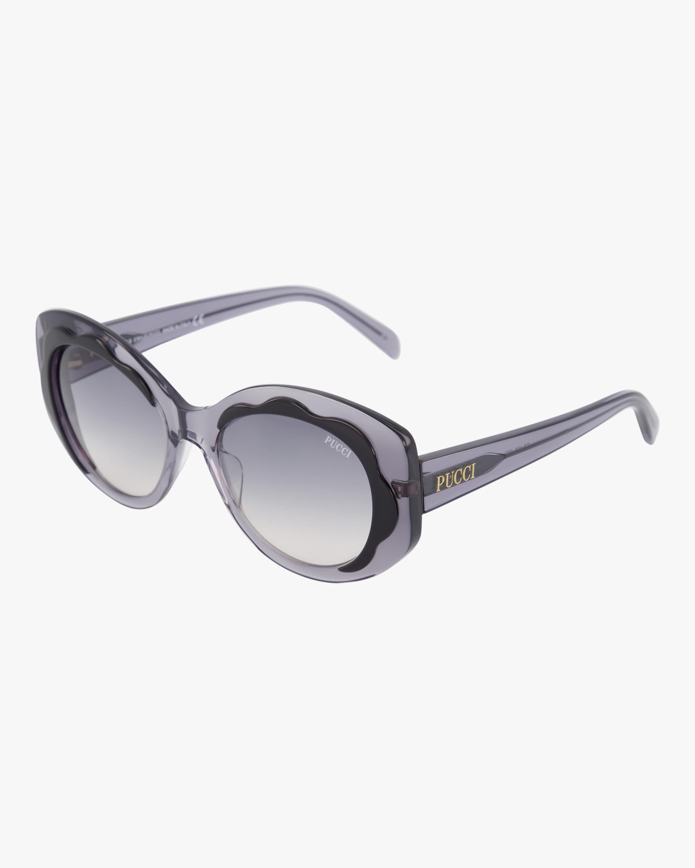 Emilio Pucci Black & Smoke Scalloped Oversized Sunglasses 1