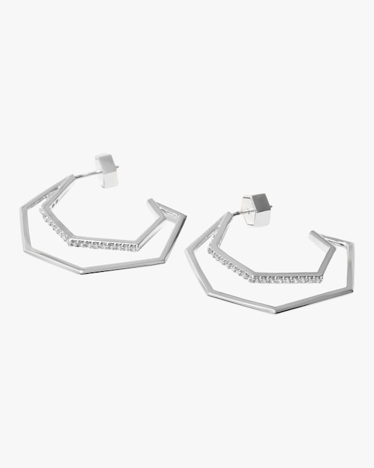 Via Saviene Pavé Cutout Hoop Earrings 0