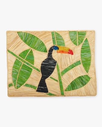Set-Of-Two Handmade Tucan Raffia Placemats