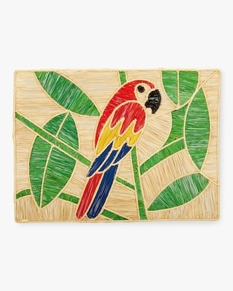 Set-Of-Two Handmade Macaw Raffia Placemats