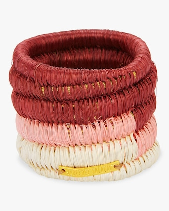 Set-Of-Tow Pink Raffia Napkin Rings