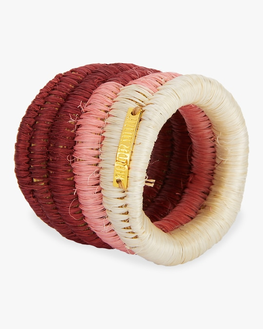 Mercedes Salazar Home Set-Of-Tow Pink Raffia Napkin Rings 1