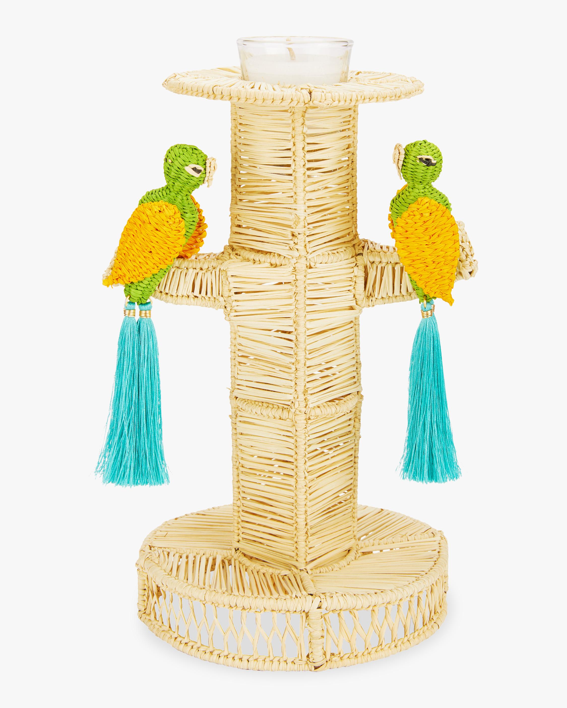 Mercedes Salazar Home Set-of-Two Green Parrots Candlesticks 0