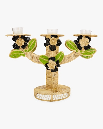 Black Flower Candlesticks