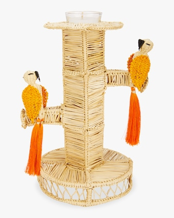 Set-of-Two Orange Cockatoo Candlesticks