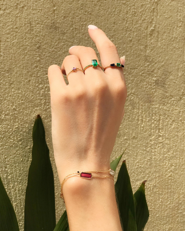 Yi Collection Rubellite Bar Bracelet 2