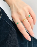 Yi Collection Emerald Petite Marquise Chain Ring 1