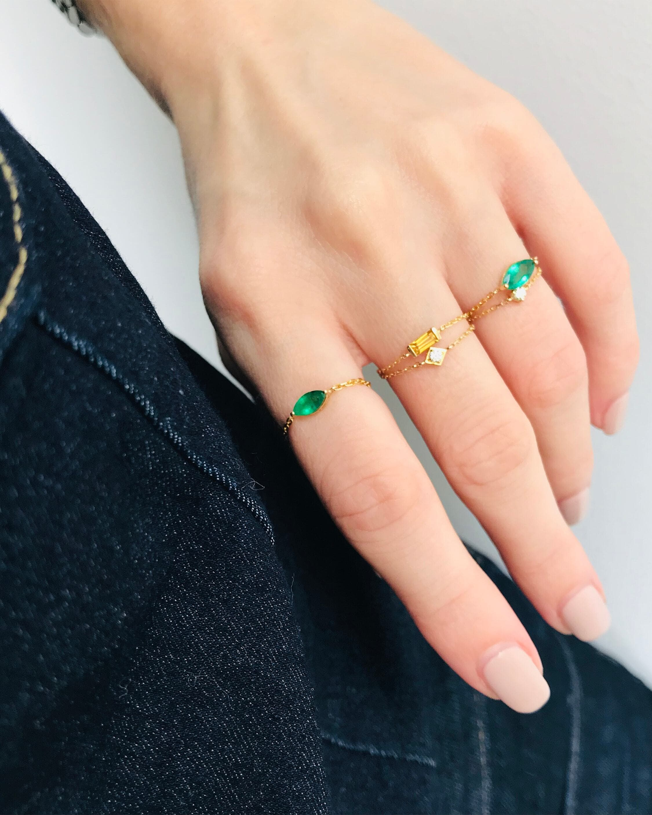 Yi Collection Emerald Petite Marquise Chain Ring 2