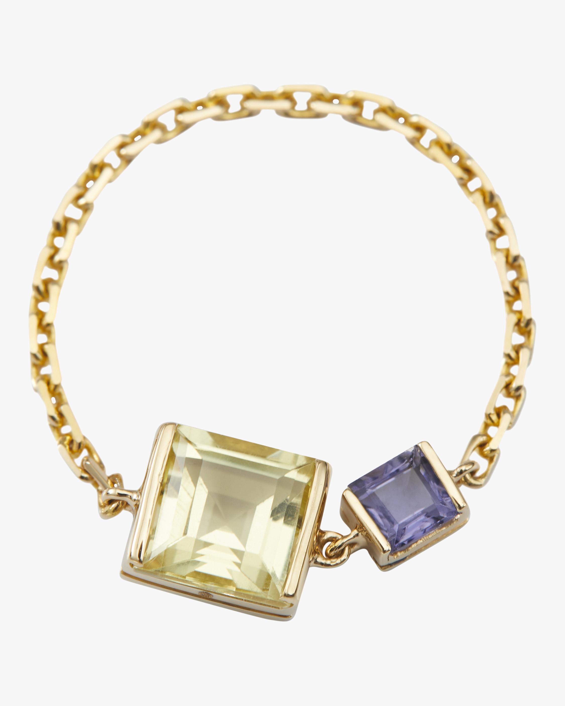 Yi Collection Lemon Quartz & Tanzanite Chain Ring 0