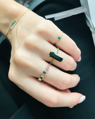 Yi Collection Rainbow Stones Chain Ring 2
