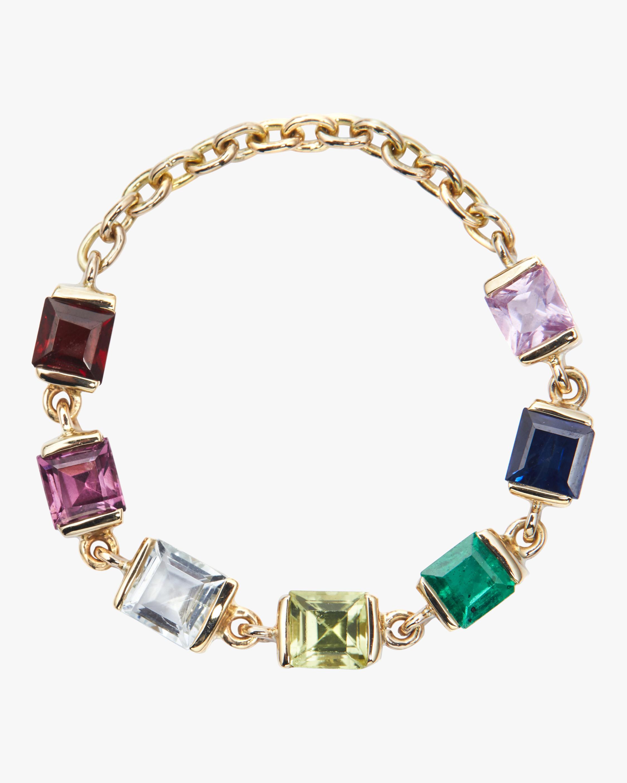 Rainbow Stones Chain Ring