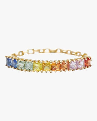 Mini Sapphire Rainbow Bar Chain Ring