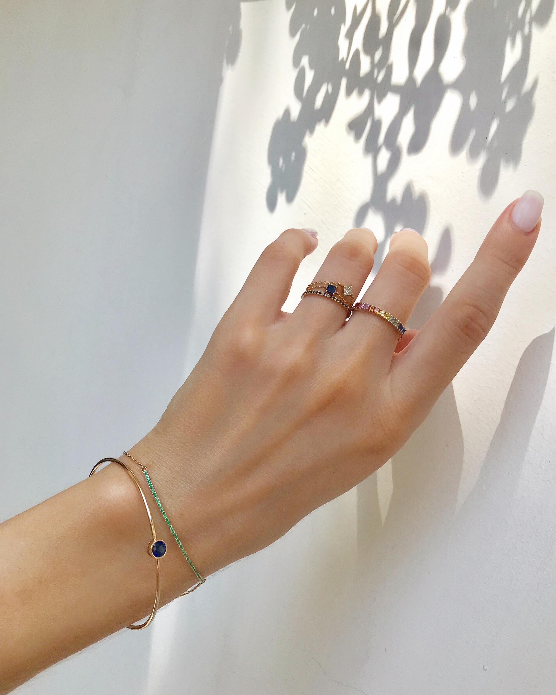 Yi Collection Mini Sapphire Rainbow Bar Chain Ring 2