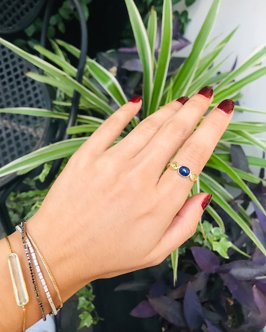 Yi Collection Sapphire & Peridot Eos Chain Ring 1